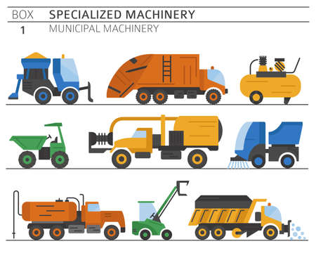 Special industrial road and municipal machine. Color flat vector icon set isolated on white. Illustration