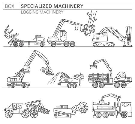 Special industrial logging machine linear vector icon set isolated on white. Illustration Иллюстрация