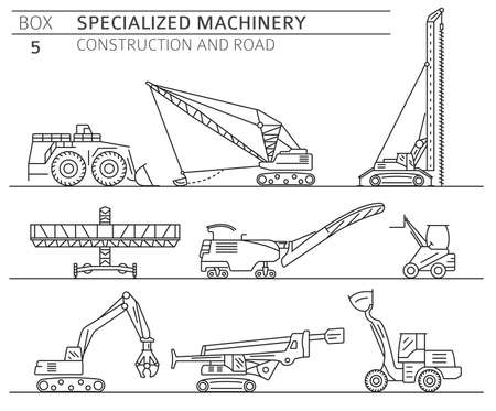 Special industrial construction and road machine linear vector icon set isolated on white. Illustration Vektoros illusztráció