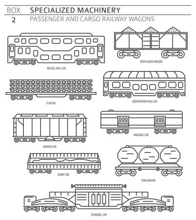 Special machinery collection. Passenger and cargo railway wagons linear vector icon set isolated on white. Illustration Stock Illustratie