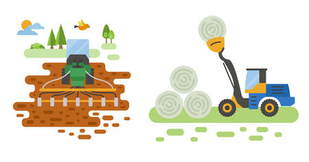 Agricultural machinery vector icon set isolated on white scene. Farming, harvesting, gardening. Illustration vector design  イラスト・ベクター素材