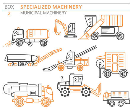 Special industrial road and municipal machine linear vector icon set isolated on white. Illustration