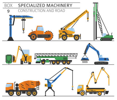 Special industrial construction and road machine colored vector icon set isolated on white. Illustration