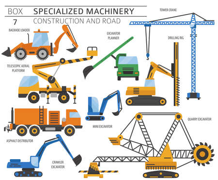 Special industrial construction and road machine colored vector icon set isolated on white. Illustration Vecteurs