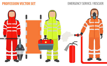 Profession and occupation set. Rescuer`s equipment, emergency service staff uniform flat design icon.Vector illustration