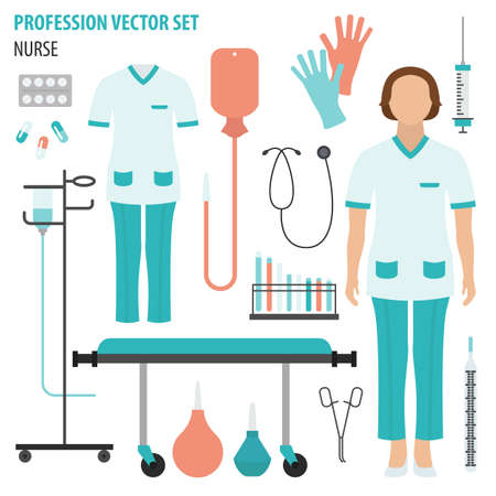 Profession and occupation set. Nurse equipment, medical staff uniform flat design icon.Vector illustration