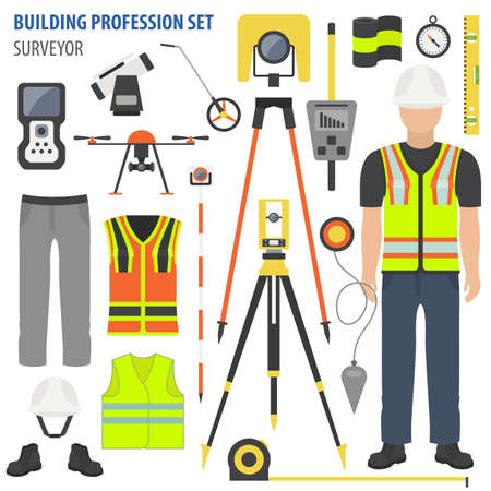 Profession and occupation set. Land surveyor tools and equipment. Uniform flat design icon.Vector illustration