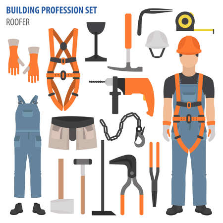 Profession and occupation set. Roofer tools and equipment. Uniform flat design icon. Vector illustration 矢量图像