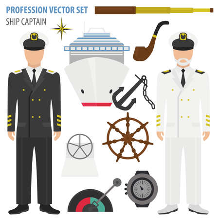 Profession and occupation set. Ship captain suit and equipment. Uniform flat design icon. Vector illustration