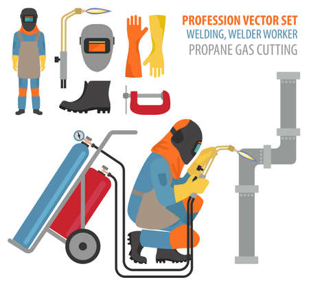 Profession and occupation set. Metal welding equipment, gas cutting flat design icon.Welder worker. Vector illustration Vetores