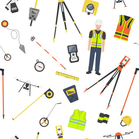 Profession and occupation set. Land surveyor tools and equipment. Seamless pattern.Vector illustration