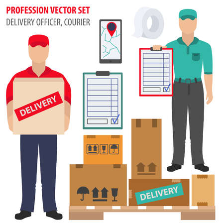 Profession and occupation set. Delivery officer equipment, courier uniform flat design icon.Vector illustration