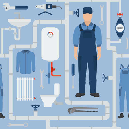 Profession and occupation seamless pattern. Plumber tools and equipment. Uniform flat design. Vector illustration