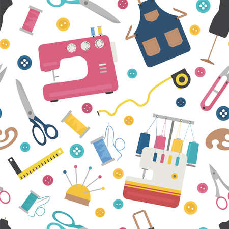 Profession and occupation set. Seamstress and tailor equipment seamless patter, flat design icon. Vector illustration