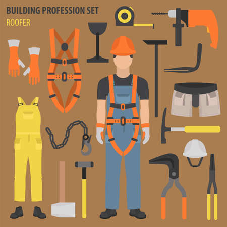 Profession and occupation set. Roofer tools and equipment. Uniform flat design icon. Vector illustration 일러스트