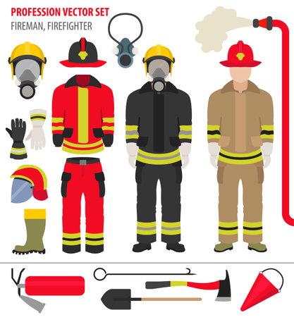 Profession and occupation set. Fireman equipment, firefighter service staff uniform flat design icon.Vector illustration Vektorgrafik