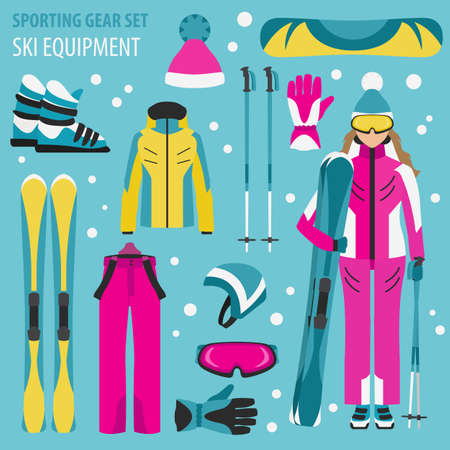 Sporting gear set. Ski equipment and skier woman flat design icon.Vector illustration