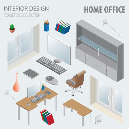 3d isometry interior design collection. Home office. Vector illustration