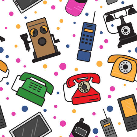 Phone history. Evolution. Seamless pattern vector. Illustration Vektorové ilustrace