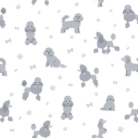 Miniature poodle clipart. Different poses, coat colors set. Vector illustration Ilustración de vector