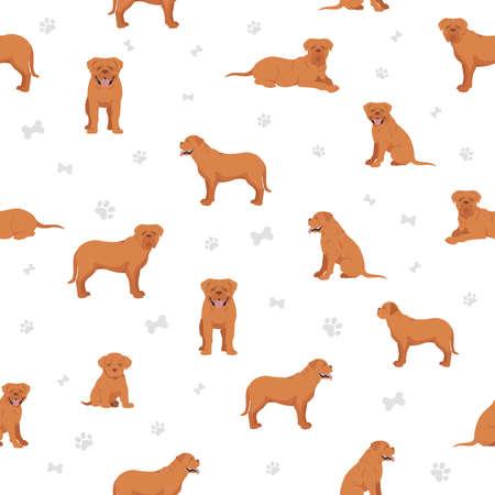 Bordeaux mastiff seamless pattern. Different coat colors and poses set. Vector illustration Vecteurs