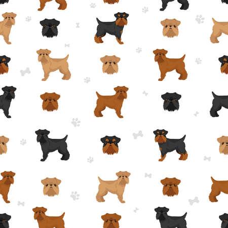 Brussels griffon seamless pattern. Different coat colors and poses set. Vector illustration Векторная Иллюстрация
