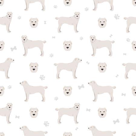 Central asian shepherd seamless pattern. Different poses, coat colors set. Vector illustration Vecteurs