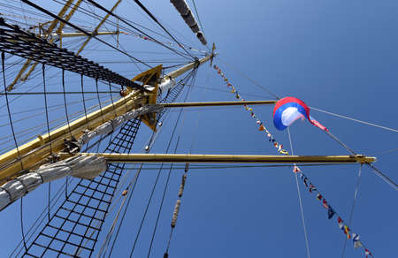 mast: The mast of a sailing ship Stock Photo