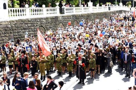 fascism: May September 2015 Sochi Russia. Demonstration in honor of the victory over fascism