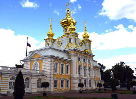 the old church: Old Church in Peterhof, St. Petersburg, Russia. July 24, 2015.
