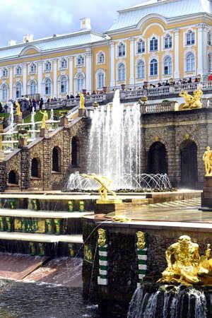 peterhof: Old fountains in Peterhof, St. Petersburg, Russia, July 24, 2015.