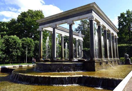 peterhof: Old fountains in Peterhof, St. Petersburg, Russia, July 24, 2015 Editorial