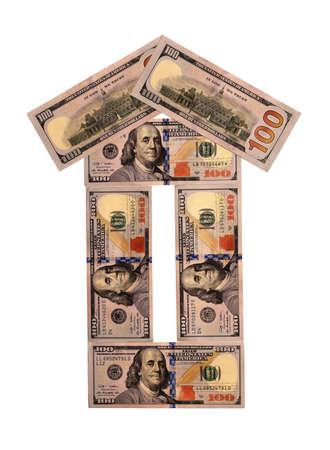 household money: House made from hundred dollar bills on white background Stock Photo