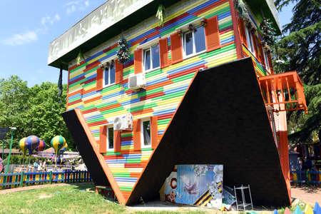 "Sochi, Russia, June 1, 2016. Attraction ""Upside down house"" in the Park ""Riviera"""