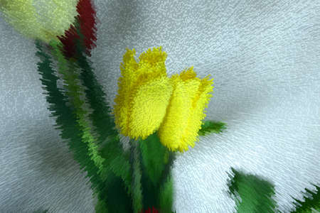 Abstraction, beautiful of stylized yellow flowers