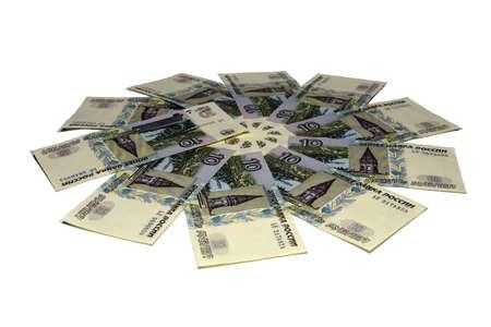 Fond d'argent, fleur d'argent. 3d illustration de roubles russes sur fond blanc