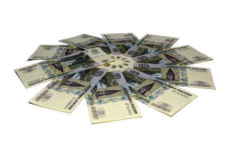 Money background, flower out of money. 3d illustration from Russian rubles on white background