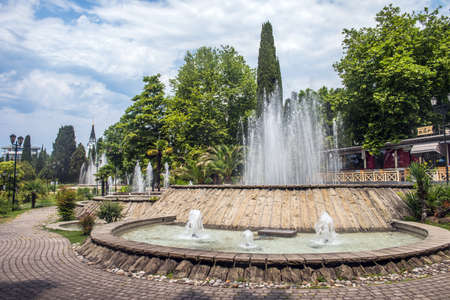 June 24, 2020, Sochi, Russia. Cascading fountain in the Central square of the city. A favorite place for walking among the citizens.