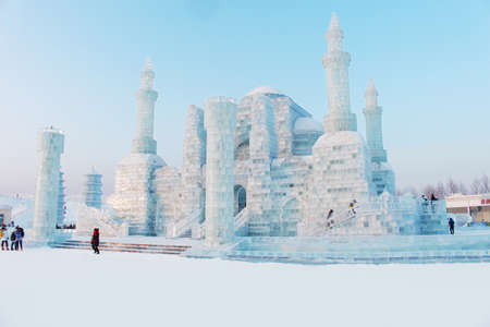 ice sculpture: ice sculpture castle