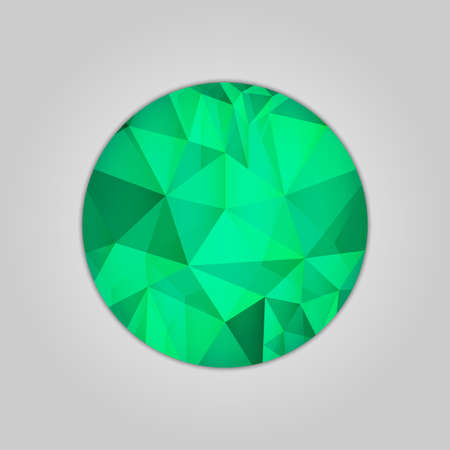 Abstract emerald round shape filled shades of green color and isolated on gray background.