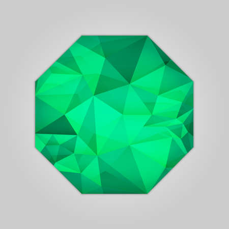 Abstract emerald octagon shape filled shades of green color and isolated on gray background.