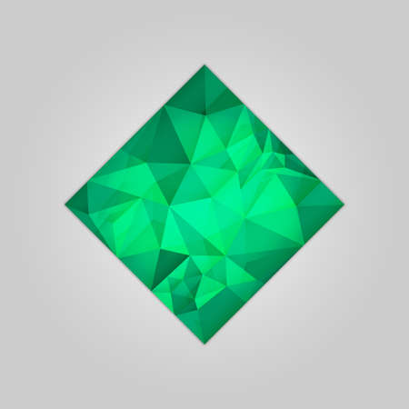royal wedding: Abstract emerald square shape filled shades of green color and isolated on gray background. Illustration