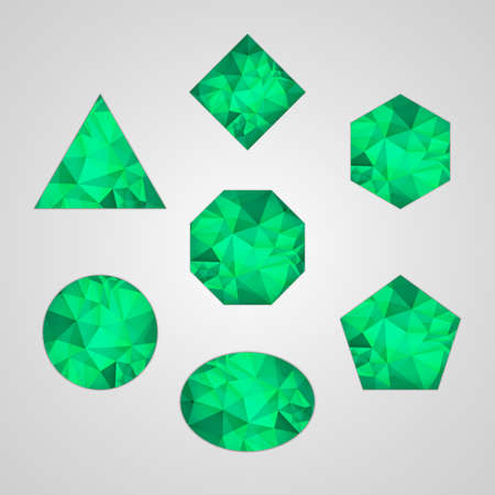 Set of abstract shapes like emerald