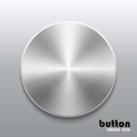 Template of round button with metal or aluminium chrome texture