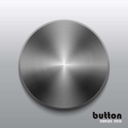 Plantilla de botón redondo con textura de acero oscuro Ilustración de vector