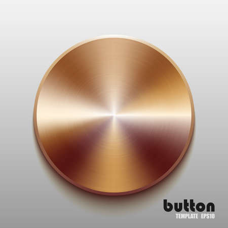 cooper: Template of round button with bronze metal texture