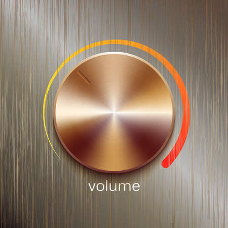 scale icon: Volume button, sound control, music knob with bronze or golden brushed texture and color scale isolated on bronze polished texture background Illustration