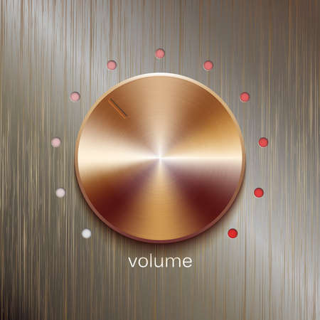 scale icon: Volume button, sound control, music knob with bronze or golden texture and scale isolated on bronze polished texture background