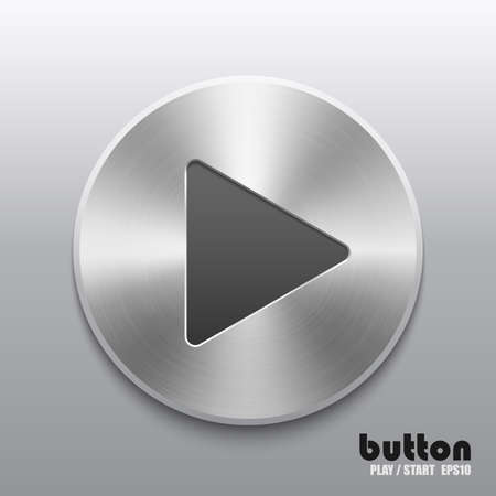 Round play button with brushed metal texture Illustration