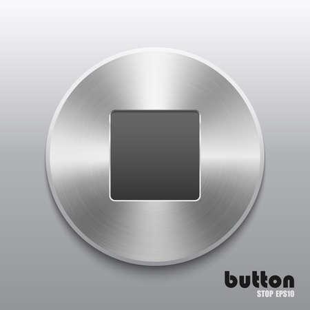 nickel panel: Round stop button with brushed metal texture